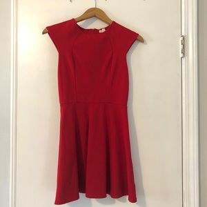 Red Mini Flare Dress with Cut-out Details
